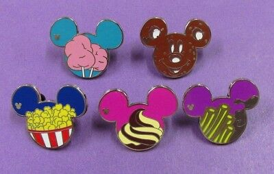 Disney Trading Pins Mixed Lot - HM Hidden Mickey Ear Icon Food Set of 5 MMT#518