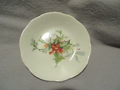 Vintage (Homer Laughlin?) Christmas Holly Decorated Butter Pat #2
