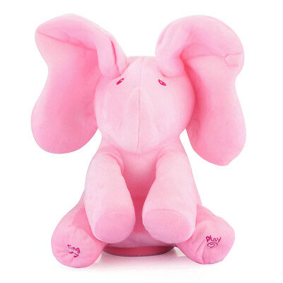 Peek-a Boo Animated Talking Singing Music Plush Elephant Stuffed Doll Toy Pink