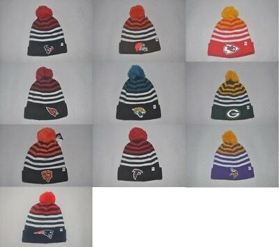 New  47 NFL Sport Team Men s Knit Cuff Cap Winter Beanie Pom Stripe Hat One 7a06aa5a4