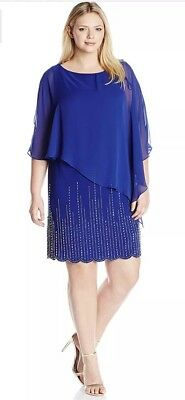 c631abcd43f Xscape Women Plus Size Royal Blue Dress ITY With Chiffon Overlay Size 22W