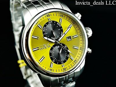 Invicta Men's 45mm Specialty Swiss ISA Movement Yellow Dial Silver Tone SS Watch