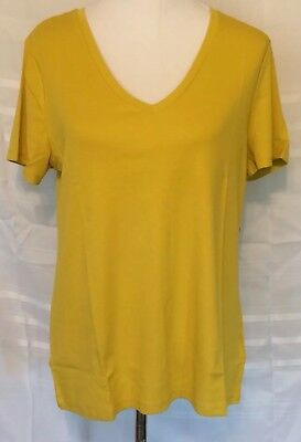 33c5a7d8a9ced2 OLD NAVY WOMENS XXL Golden Yellow Cotton Modal Soft Shirt Top V-Neck ...
