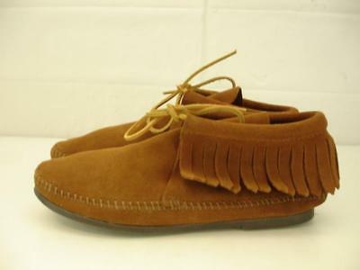 Minnetonka Womens 7.5 M 682 Brown Suede Classic Fringed Hardsole Moccasin Boots