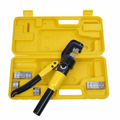 10 Ton Hydraulic Crimper Crimping Tool/w 9 Dies Wire Battery Cable Lug TerminalS