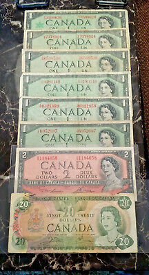 8 Lot 1954 1967 1979  $1 $2 $20 Bank of Canada Paper Money Notes Devil's Face