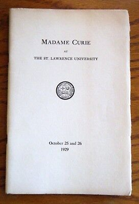 St Lawrence University Canton NY MADAME CURIE Visit Souvenir Book Oct 1929