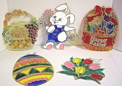"""Lot Of 5 Asst.-Vintage Easter Plastic Faux  """"stained Glass"""" Window Decorations"""