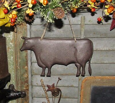 Primitive Antique Vtg Style Farmhouse Dairy Farm Cow Embossed Hanging Tin Sign
