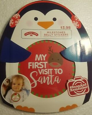 Holiday Time Infant Milestone Sticker Set 6 Belly Stickers Christmas Santa New