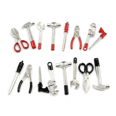 8pcs 1:12 Scale Miniature Metal Hand Tools Set Dolls House Accessories