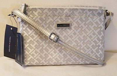 8064d7dc4bc New Tommy Hilfiger Crossbody Bag Purse Silver Gray Sparkle +Pouch Twice as  Nice