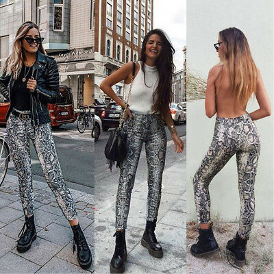 27018e5c16aa Womens Ladies Summer Python Snake Print High Waist Stretchy Leggings Slim  Pants