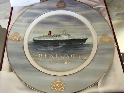"Cunard QE2 Limited Edition 12"" Plate, Queen Elizabeth, Mary, NEW condition"