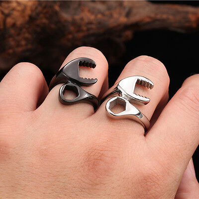 Mens 316L Stainless Steel Ring Punk Biker Mechanic Wrench Rings US Size 7~13 WB