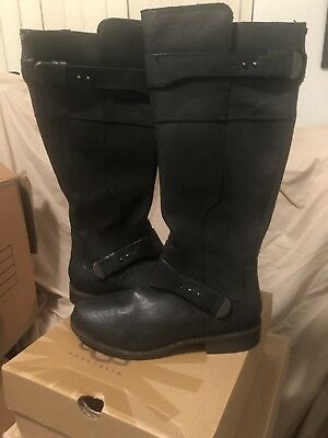 54013d470aa NEW UGG AUSTRALIA Dayle Tall Black Leather Riding Boots Sz 10 ...