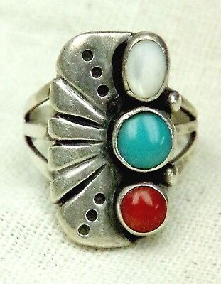 VINTAGE 1970s NAVAJO SIGNED ED KEE TURQUOISE CORAL SILVER RING 3 STONES SIZE 8