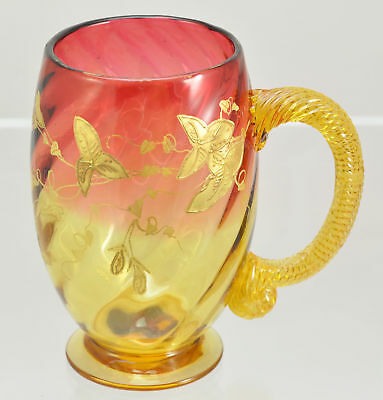 Set of 5 Antique Enameled Blown Amberina Mugs J Locke New England Glass 1880s