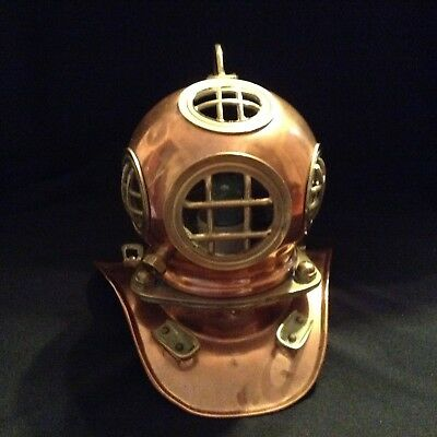 Diving Helmet Brass and Copper with Lamp Fitting
