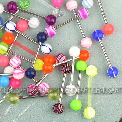100PCS 1.2mm Tongue Tounge Nipple Ear Rings BARS BARBELL BODY PIERCING JEWELRY
