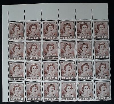 1962 Australia blk of 24 x QE2 2d Brown Coil stamps Non Helecon MUH
