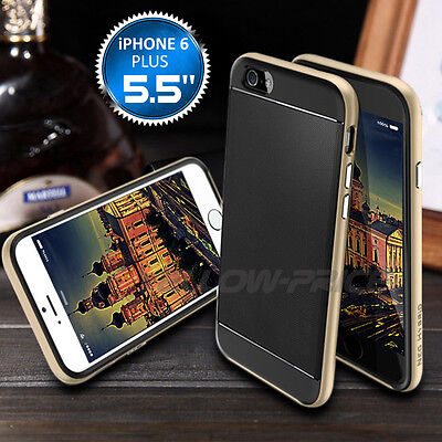 Black Soft Bumper Rubber Case W/Metal Protective Shockproof For iPhone 6 Plus CA