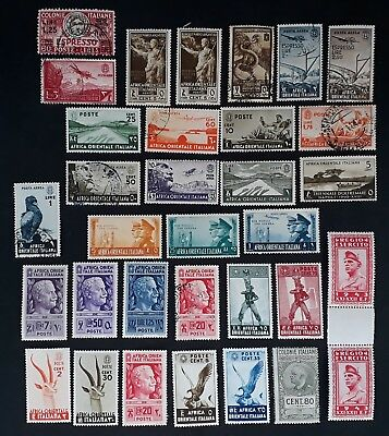 RARE 1938- Italian East Africa lot of 33 postage stamps Mint & Used