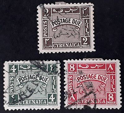 VERY RARE c.1950 Cyrenaica lot of 3 Postage Due stamps Used