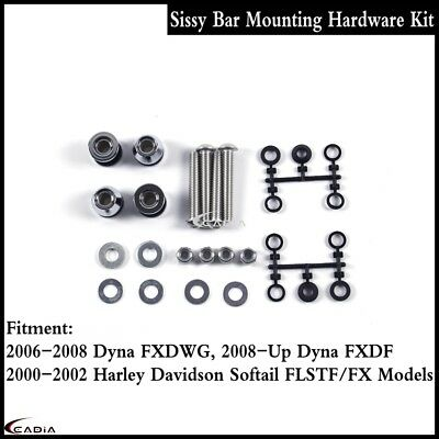 Steel Sissy Bar Docking Mounting Hardware Kit For Harley Dyna Fat Bob FXDF 08-Up