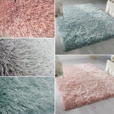 Thick Pile Shaggy Area Shimmer Rug Bedroom Living Dining Room Carpet Floor Mat