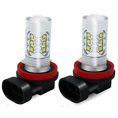 Pair 6000K White H11 H8 Fog Light 2835 LED 66W Driving Projector DRL Bulbs
