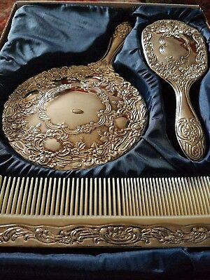 A Silver Plated Dresser  Set Of 3.