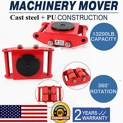 6T/13,200Lb Industrial Machinery Mover Dolly Skate 4-Roller 360°Swivel Top Plate