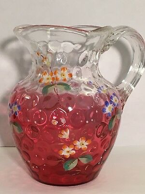 Antique Rubina Cranberry To Clear Enameled Glass Creamer IVT Beehive Pitcher