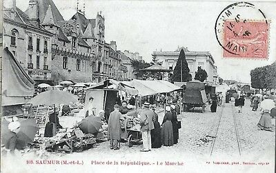 49-  Cpa Animee 1906-Saumur -Place De La Republique -Le Marche