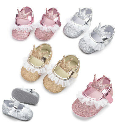 Newborn Baby Girl Glitter Crib Shoes Anti-slip Soft Sole Sneakers Prewalker
