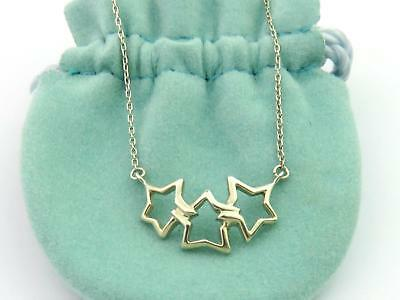 ec9348f9d Authentic TIFFANY & CO Sterling Silver Triple Star Pendant Necklace