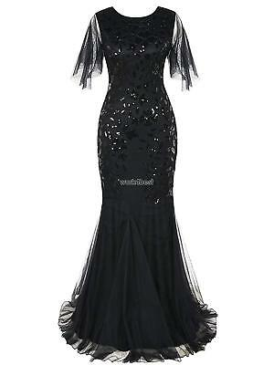 Women 1920's Vintage Style Print Sequin O Neck Long Prom Gowns Party WST