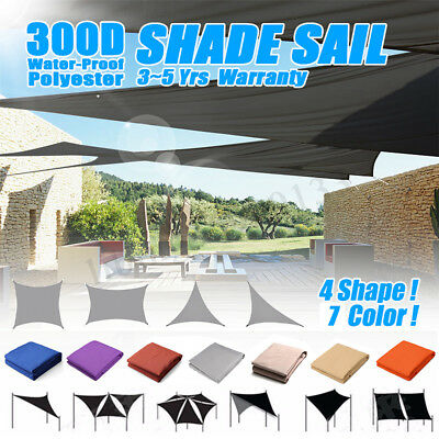 300D Sun Shade Sail Outdoor Garden Waterproof Canopy Patio Cover UV Block
