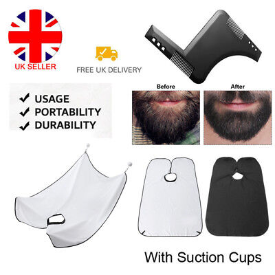 Men's Facial Hair Beard Shaping Styling Apron Care Shave Cape Bib Trimming Comb