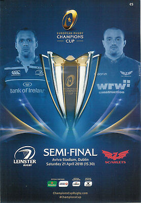 Leinster v Scarlets - European Champions Cup semi-final 21 Apr 2018 rugby prog