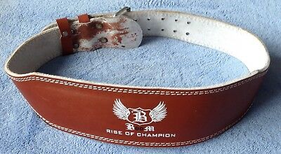 """BooM Pro 4"""" Brown Leather Weightlifting Belt Back Support. X-Large"""