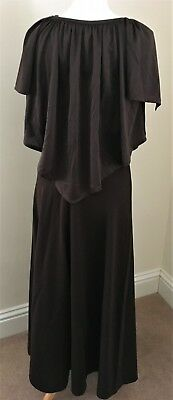 Vintage Brown top and skirt set approx 1970 1980 ladies Size 12