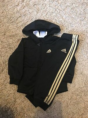 Adidas Tracksuit 9-12 Months Black And Gold