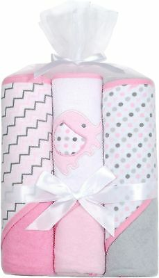 Kyle & Deena Baby Girls 3-pk. Elephant Hooded Towels One Size Pink/grey/white