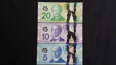 CANADA $20 $10 & $5 Dollars x 3 UNC Polymer Banknotes