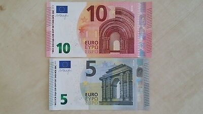 EUROPEAN UNION 10 (T- Ireland) & 5 (V- Spain) Euro Set Draghi x 2 UNC Banknotes