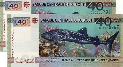 DJIBOUTI 40 Francs 2017 P NEW 40th Anniversary Independence x 2 UNC Banknotes