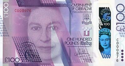 GIBRALTAR £100 Pounds 2015 (2017) P40 Low serial UNC Polymer Banknote