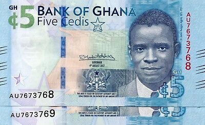 GHANA 5 Cedi 4th August 2017 (2018) P NEW x 2 Consecutive UNC Banknotes